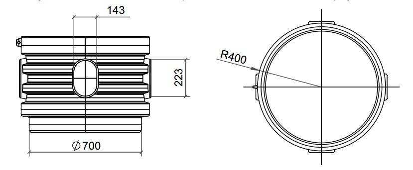 Кессон Rodlex удлиняющая горловина вид слева и сверху
