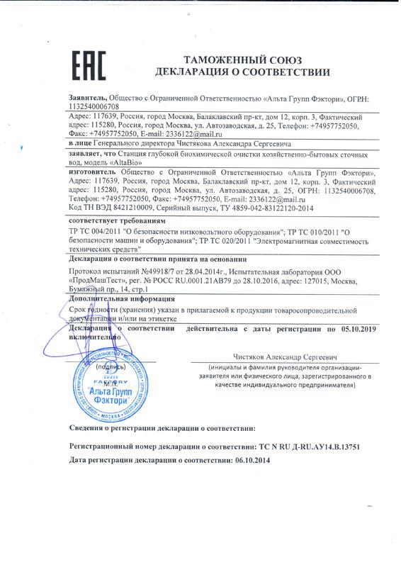 Декларация о соответствии Alta Bio