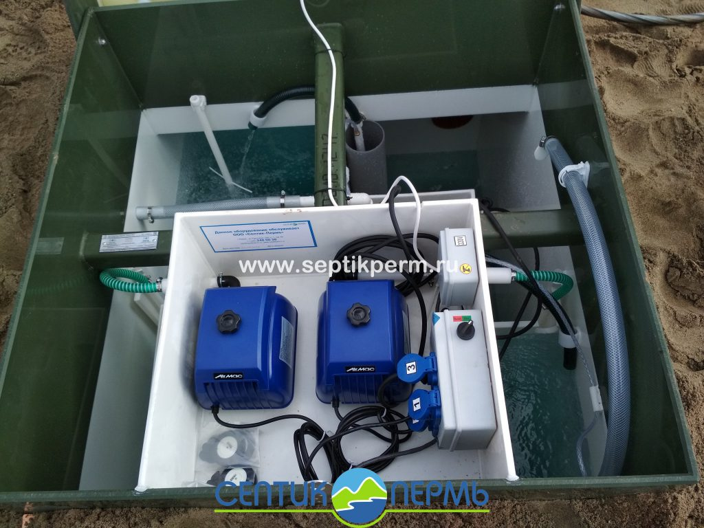 Монтаж устройства очистки сточных вод Топас 8 Принудительный выброс винфильтратором в Протасах ул.Хорошая