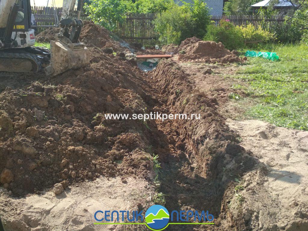 Установка автономной канализации Топас 8 Пр с инфильтратором в поселке Новобродовский ул. Ромашковая.