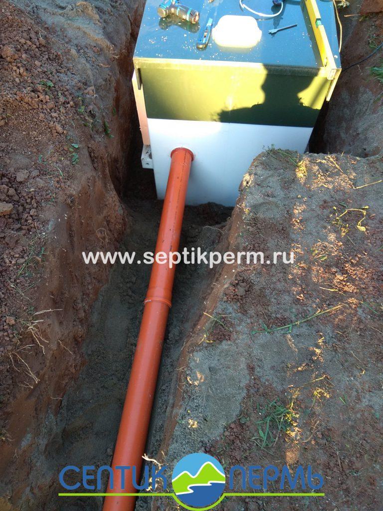 Монтаж устройства очистки сточных вод Топас-С 4 с отведение очищенного стока в инфильтратор, п.Протасы.