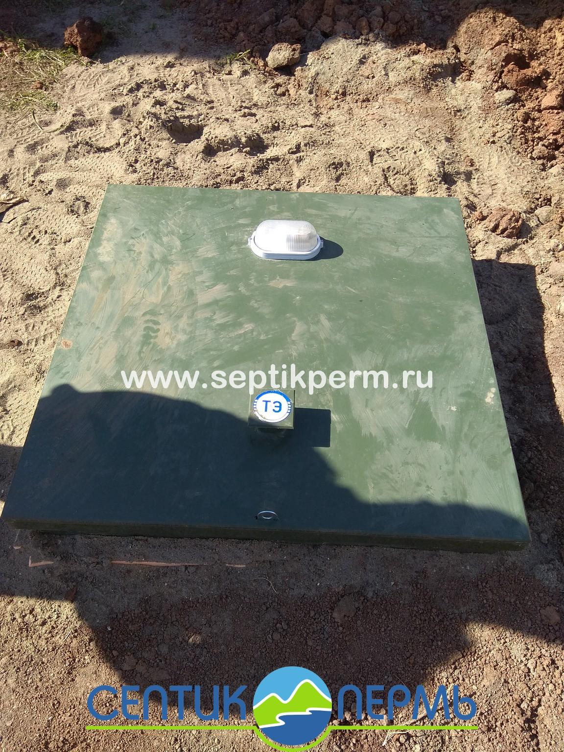 Монтаж устройства очистки сточных вод Топас-С 8 самотечный с 1 компрессором, Пермь, ул.Рассветная.
