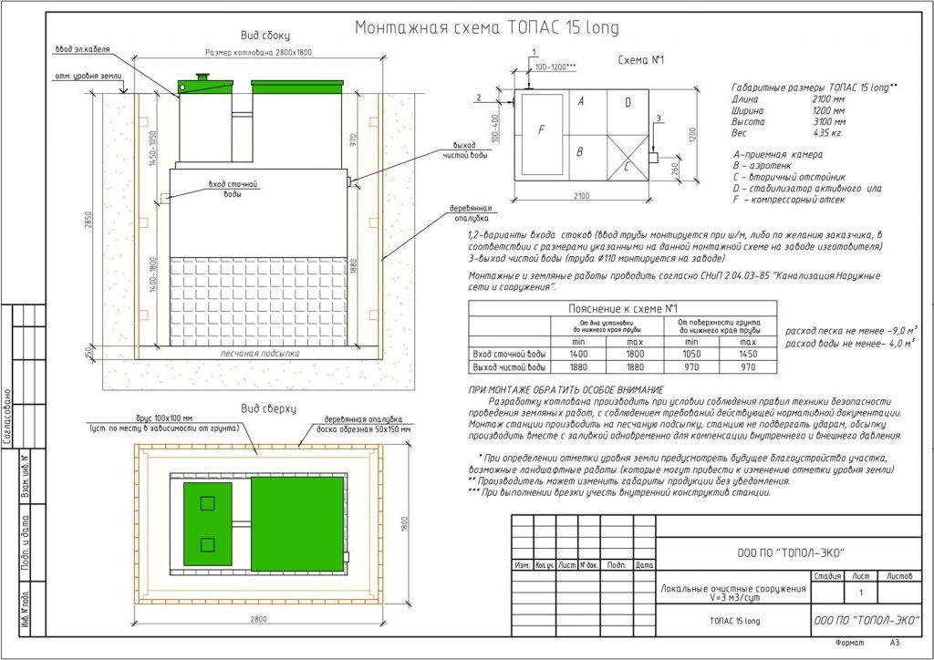 Монтажная схема Топас 15 Long - автономная канализация